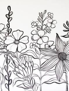 The begining of a painting drawn first with inks Doodle Wall, Doodle Drawings, Flower Mural, Flower Wall, Mural Art, Wall Murals, Garden Mural, Wall Painting Decor, Black And White Flowers
