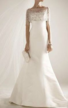 Satin Wedding Gown with Beaded Pop Over Jacket « SHEfinds