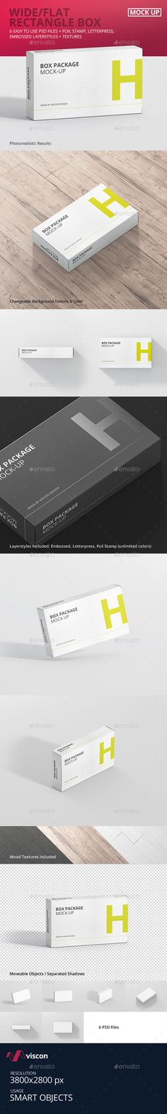 Package Box Mock-Up - Wide / Flat Rectangle. Download here: https://graphicriver.net/item/package-box-mockup-wide-flat-rectangle/16930613?ref=ksioks