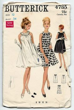 1960s Vintage Sewing Pattern Butterick 4735 Misses Sleeveless Evening Tent Dress with Oval Neckband Size: 12  Bust: 34    Pattern Condition:
