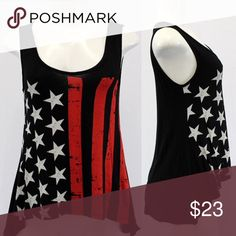 American flag tank. $15  on website and Insta American flag tank. Features a slight high-low hemline. Tops Tank Tops