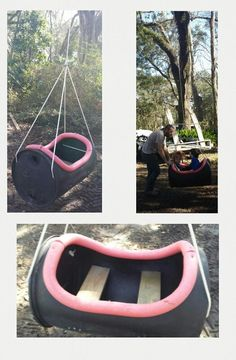 DIY tree swing, kids swing. Made by my hubby for my kiddos using a plastic barrel. If you need more details to build this for yourself, just comment below and I'll be happy to help!