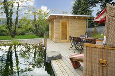 Sartensauna mit Lärchenholz-Fassade