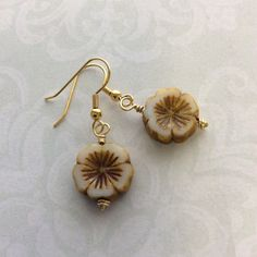 Handmade yellow and white flower bead brass by FrenchiGraceDeux