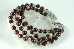 Garnet bracelet with Silver finish multi strand by AliraTreasures, $55.00