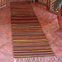 Zapotec wool rug, 'Ancient Ones' (2.5x10)