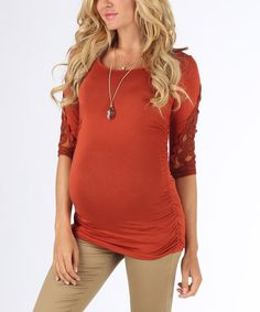 Look at this #zulilyfind! Rust Crochet-Sleeve Maternity Scoop Neck Top - Women by PinkBlush Maternity #zulilyfinds