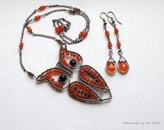 Sterling silver Owl with Carnelian and Smokey Quartz. Custom order.