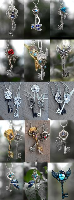 envydragon: honeyyoushouldseemeinacrown: noo-mikasha-thash-ghayy: steampunk-street: KEYPERS COVE if someone . Key Jewelry, Jewelery, Jewelry Accessories, Jewelry Making, Keys Art, Magical Jewelry, Vintage Keys, Key To My Heart, Key Necklace