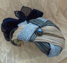 Formal woman's hat, Vintage Noir Haute Couture, shades of blue, OOAK fabulous facinator, Blue bridal head piece