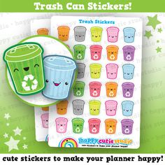 30 Cute Trash Can/Garbage/Rubbish Planner Stickers, Filofax, Happy Planner, Erin Condren, Kawaii, Cute Sticker, UK