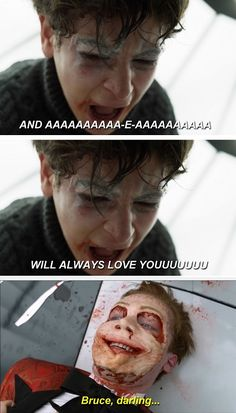 ahahahahah, I love it! #BruceWayne #JeromeValeska #Batman #Joker #Gotham #love