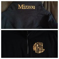 Mizzou 1/4 Zip Sweatshirt with Tiger fabric Monogram