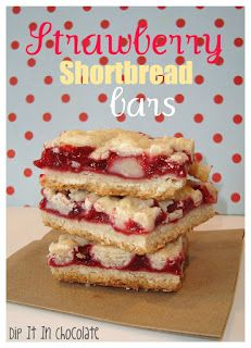 Strawberry Shortbread Bars ~ Dip it in Chocolate