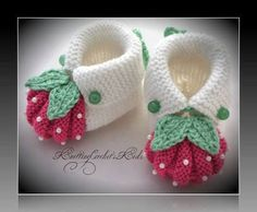 """Homemade baby booties are perf"", ""This post was discovered by Ümr"", ""Items similar to Handmade knitting baby slippers \""Adidas\"" pair) on Etsy"", ""These are knit, but it does give me the idea that I can work out for crochet also. Baby Booties Knitting Pattern, Crochet Baby Shoes, Crochet Baby Booties, Baby Knitting Patterns, Crochet Patterns, Knitted Baby, Diy Crafts Knitting, Knitting For Kids, Strawberry Baby"
