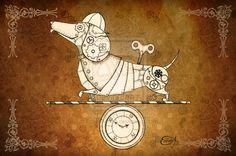 goth dachshund | Steampunk Mouse Drawing Steampunk clockwork dachshund