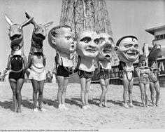 1930: Women Wearing Masks on Venice Beach