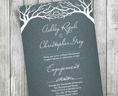 Winter Couples Shower Invitation  Custom White Trees by VGInvites $22