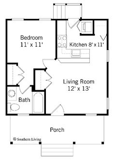 484 sq ft. This might also be a possibility.  I find I need a bedroom with a door and a bathroom with a tub.