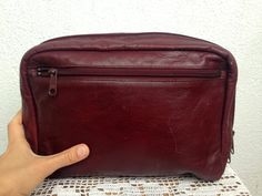 Cosmetic Pouch, Leather Dopp Kit, Groomsman Gift Ideas, Toiletry Bag, Oxblood Clutch, Travel Organizer, 70s Shaving Set, Fathers Day Gift by BlastFromThePastBags on Etsy
