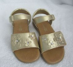 Gold Sandals Size 11 Worn Once - Adjustable front and back with velcro!