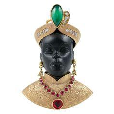 Nardi Blackamoor. Italy, ca. 1950s. photo by 1stdibs. 18k Gold, Jet ruby, Emerald, Ebony and Diamonds