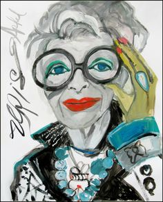 Ode To Iris,  ( Portrait of Iris Apfel ) An Original Acrylic Portrait Painting on Paper created in 2015.