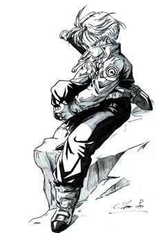 Future Trunks black and white Dragon Ball Gt, Dragon Ball Z Shirt, Manga Anime, Manga Art, Anime Art, Manga Drawing, Gif Naruto, Dbz Wallpapers, Trunks Dbz