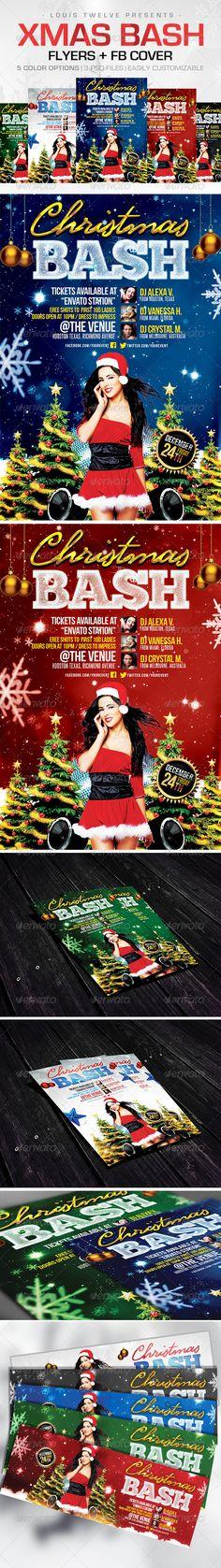 Christmas Bash | Flyers + FB Cover — Photoshop PSD #xmas bash #creative • Available here → https://graphicriver.net/item/christmas-bash-flyers-fb-cover/6076635?ref=pxcr
