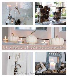 Looking for some quick, easy and extremely doable Fall decorating ideas? Here are five little vignettes you can all create in under one hour. See more at www.songbirdblog.com