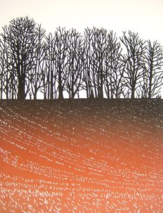 """Winter Field"" ~ Two Plate Linocut on Vinyl by Richard Shimell, British Printmaker ...."