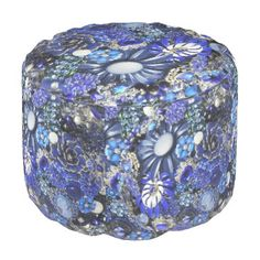 """Title : 107, Bling, Bouquet Blue Gemstone Print Pouf  Description : My Customized Bling Art Designs, are flat prints. By using photo enhancement, shadowing, color-blending and the alteration of angles, I create the """"LOOK"""" of specific textures. (The same principal is used in 3-D Image Posters). I can create the desired look of Glitter, Sparkle, Reflection, but if you are not satisfied there is a 100% Guarantee. To help you find similar Bling Designs, use such keywords, as Diamonds…"""