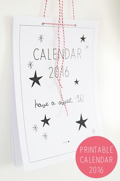 Kalender 2016 - printable | Elske | www.elskeleenstra.nl