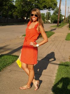 @Anthropologie coral dress with Gianni Bini sandals #raybans #yellowclutch