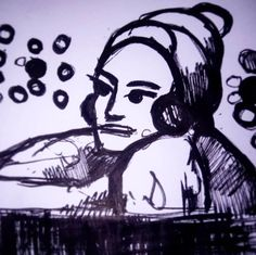 "#inktober #inktober2017 #draweveryday #everyday "" #woman listening to #spheres of #music on a high #balcony "" #pen on paper #beauty #moment from my #sciencefiction #3Zuniverse #drawing #art listening to #boardsofcanada #dayvancowboy 🐵🎧🎼🎵🎵 #sketch #electronic #traditional"