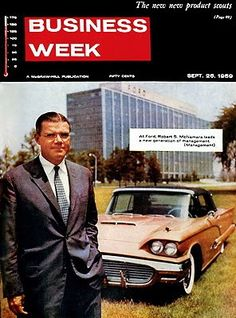 Robert Strange McNamara assumes the presidency of Ford Motor Company, the first president not a member of the Ford family. Robert Mcnamara, November 9th, Ford Thunderbird, Ford Motor Company, Vintage Cars, Two By Two, American, Wednesday, Birth