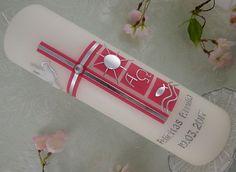 Taufkerze Kommunionkerze Mädchen Kreuz rosa silber Taufsimbole NEU