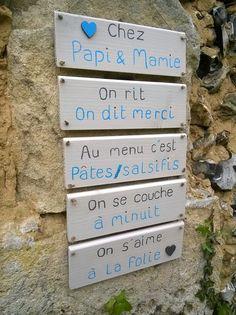 """pancarte en bois et ses messages """"chez Papi & Mamie : Décorations murales par ptitecrea"""