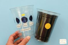 A fun and interactive way to learn about moon phases, using plastic cups! Turn the cup to see the moon change. Learn how to make one here. Science Lessons, Teaching Science, Science For Kids, Earth Science, Science Projects, Teaching Weather, Weird Science, Science Fun, School Projects