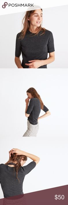 """Madewell Ribbed Sweater Top """"A modern basic with a '70s feel. This slim ribbed sweater top, has fresh elbow-length sleeves (read: this supersoft style is made for overalls). Fitted. Extra-fine merino wool. Dry clean."""" // NWT. Never worn. Lightweight. Madewell Tops"""