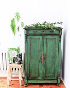 green chiffonier - french antique - one of a kind - emerald green - chippy look…