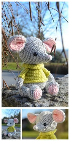 Educational and interesting ideas about amigurumi, crochet tutorials are here. Crochet Baby Toys, Crochet Mouse, Crochet Amigurumi Free Patterns, Crochet Animal Patterns, Stuffed Animal Patterns, Crochet Doll Pattern, Cute Crochet, Crochet Dolls, Crochet Geek