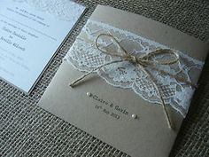 Handmade Rustic Pearl and Lace Wedding Invitations