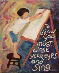 Painting, Child Artist, Easel, Picasso Quote, Impressionistic