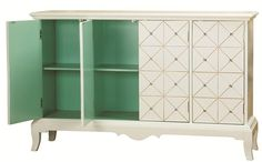 Diamond patterned four door white and gold with crystals console inside cabinet view sea foam green Accentrics Home by Pulaski  | The Decorating Diva, LLC