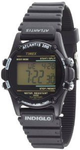 Timex Men's T5K463 Atlantis 100 Black Resin Strap Watch Timex. $28.87. 100-Hour Chronograph with Lap and Split Times, 99-Lap Counter. Water-resistant to 330 feet (100 M). Two Time Zone Settings with Daily Alarm. 100-Hour Countdown Timer with Stop and Repeat. Indiglo® night-light