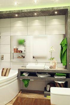 kleines bad gestalten grüne akzente