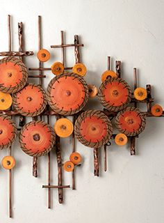 Ripples in Oranges by Hannie Goldgewicht (Mixed-Media Wall Sculpture) shop art for the wall Broken Glass Art, Sea Glass Art, Glass Wall Art, Stained Glass Art, Window Glass, Fused Glass, Glass Art Design, Deco Originale, Deco Boheme