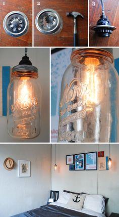 Schöne Lampe im Vintage Sitl, ganz einfach selberbauen. Alles was du dafür brauchst ist ein Hammer, eine Bohrsmaschine, eine Kordel und eine Glühbirne. Viel spaß!
