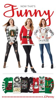 Calling all the Jingle Ladies­—and guys! The hahaha-lidays are here, and the ugly Christmas sweater is back! Rock your office Christmas party and create happy holiday memories wrapped up in a cozy, ugly sweater. That's definitely #joyworthgiving! Click to shop ugly christmas sweaters at JCPenney.